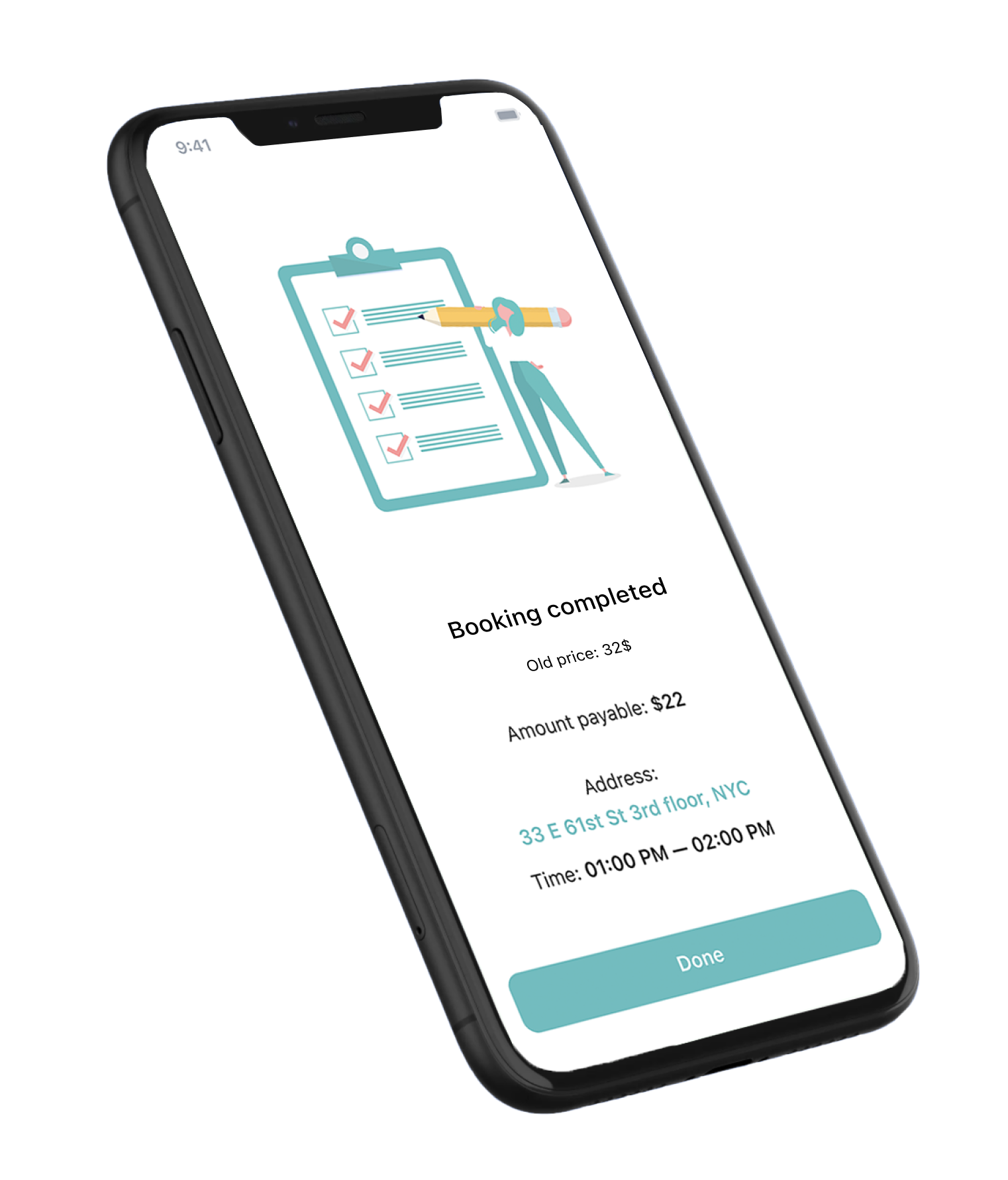 Mobile app, booking page.